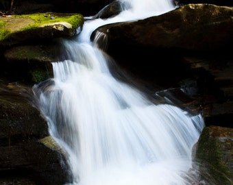 SALE! Waterfall Photography, Blue Ridge Mountain Scene, Western North Carolina, Asheville, NC Photography PRINT Waterfall Wall Art Decor