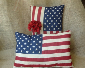 Patriotic American Flag decor, holiday decor, small pillows, American Home, summer decor, 4 th of July, Memorial Day