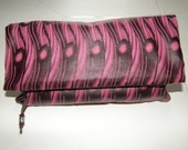 Floppy Fold Clutch Bag Pink & Brown Faux Leather PVC Fabric Handmade In France