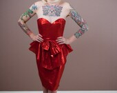 Vintage 80s Red Peplum Metallic Foil Va Va Voom Dress
