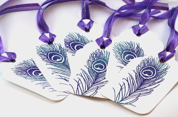 Purple peacock feather tags, peacock wedding wish tags, gift tags, iridescent Embossed favor tags, party tags,