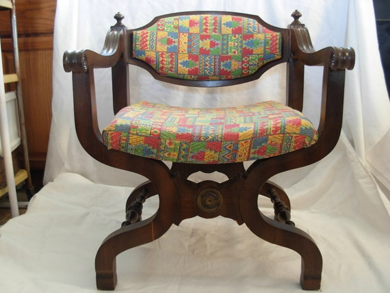 RESERVED for ANGELA 2 Vintage Wooden Ikat Chairs Masculine Throne Gothic German Inspired