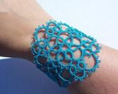 turquoise cuff bracelet, gypsy bracelet, lace cuff bracelet, victorian lace bracelet,tatted lace bracelet, wrist cuff bracelet