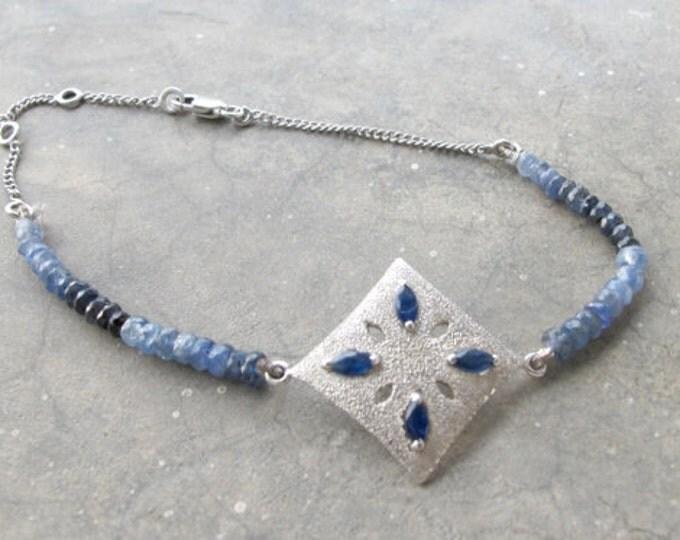 Blue Sapphire Statement Bracelet- Ombre Beaded Bracelet- September Birthstone Bracelet- Blue Gemstone Bracelet- Unique Jewelry Gifts for Her