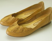Vintage Mustard Yellow Leather Shoes | Woven Yellow Slip Ons | Size 7.5