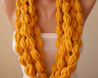 Mustard/Yellow Wool Infinity Scarf  - Crochet Scarf