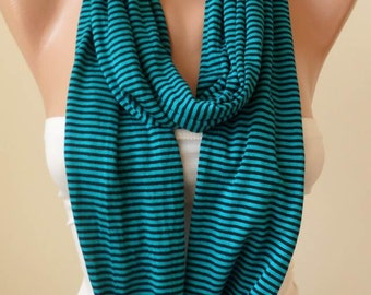 Green and Black Striped Infinty Scarf  - Circle -  Loop Scarf - Combed Cotton Fabric