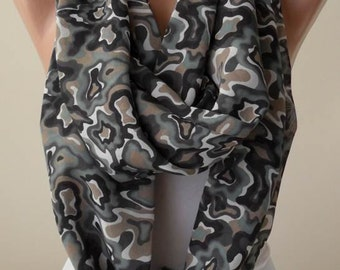 Gray and Green Multicolor Infinity Scarf -  Chiffon Fabric