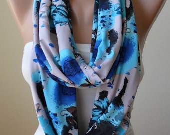 Blue Infinity Scarf - Jersey Fabric