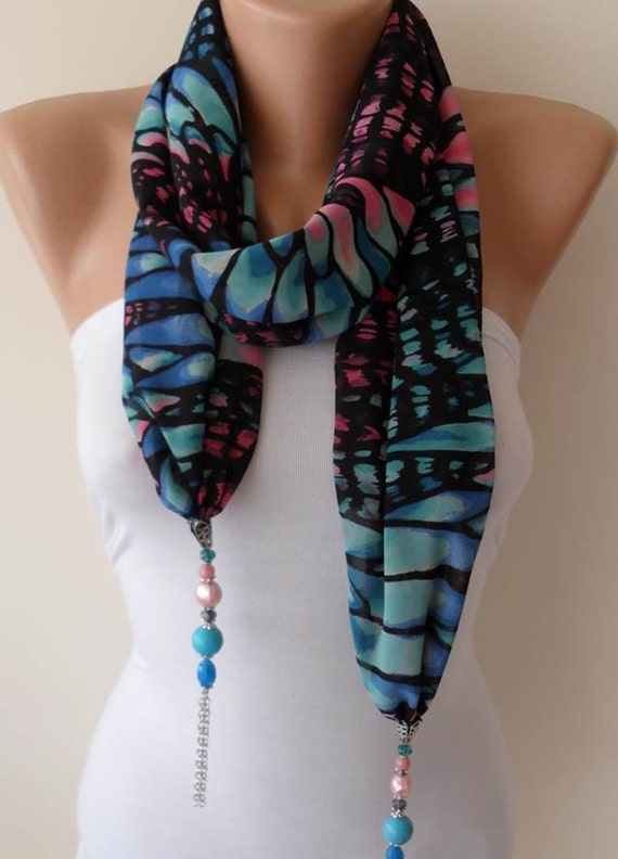 Jewelry Neclace Scarf - Blue and Pink -  Silk - Chiffon Scarf with Blue Trim Edge