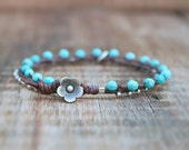 Waxed Linen Bracelet  - Turquoise Blue Faceted Magnesite and Thai Silver Charm Bracelet Finished with a Leather and Thai Silver Flower Clasp