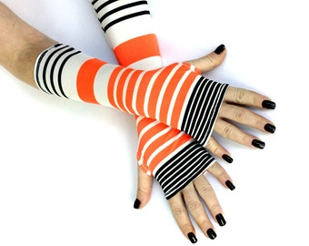 Sale - Black and Orange stripes  Fingerless gloves Gift Soft Cotton Yoga  Belly Dance Fusion Light Goth Cycling