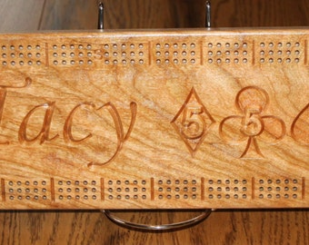 Personalized Cherry Wood Cribbage Board