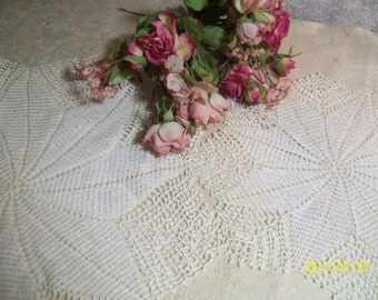2 Matching hand crochet Doily Wedding Table Accent 1 Large 1 Small