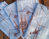 FOUR Vintage Napkins linen 1950s 1960s Mid Century Modern Blue Brown abstract napkin Western country chic picnic linens textile
