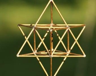 Star tetrahedron  / MerKaBa brass handmade / sacred geometry / yoga decoration (Medium size)