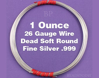 Fine Silver .999 26 Gauge Dead Soft Round Wire on Coil, Pure Silver Wrapping Wire, 1 Full Ounce (Approx. 75 Feet ) FS-W26/DS