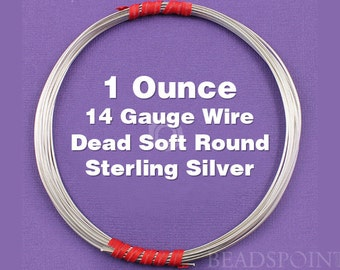 Sterling Silver .925 14 Gauge Dead Soft Round Wire on Coil, Wrapping Wire, 1 Full Ounce (Approx. 4.75 Feet ) SS-W14/DS