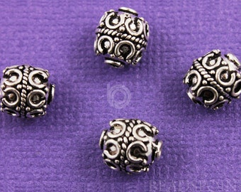Bali Sterling Silver 8mm Round Bead w/ Wirework Pattern and Rope Detail, Oxidized Finish, (2 Pieces) (BA5112)