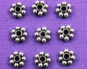 Bali Sterling Silver 8mm Daisy Bead Spacer, Oxidized Finish, Cute Tiny Accent for Handmade Beaded Jewelry, (25 Pieces) (BA5156)