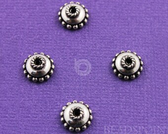 Bali Sterling Silver 9mm Bead Cap, Beaded Edges and Rope Detail, Oxidized Finish, Lovely Accent for Beaded Jewelry, (6 Pieces) BA5286