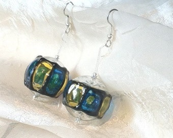 Vintage Lucite Lantern Earrings Rare OOAK Upcycled Repurposed Blue & Yellow Lightweight Danglers
