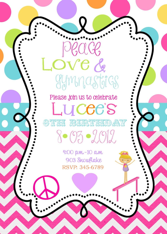 peace love gymnastics birthday party invitations printable or