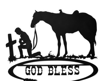 God Bless Cowboy And His Horse Kneeling At The Cross Metal Art