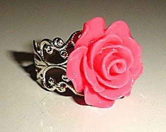 Pink Rose Flower Vintage Style Silver Filligree Ring - Beautiful Summer Ring
