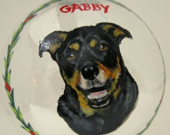 Rottweiler, Pet Painting, Christmas Ornament, Custom Pet Portrait, Hand Painted Dog Art, Pet Loss Memorial, Holiday Decor, Painted Pet