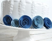Blue Paper Flowers Baby shower Decorations 15 flowers