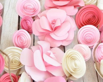 Wedding Garland Paper Flowers ombre pink, ivory 15 feet