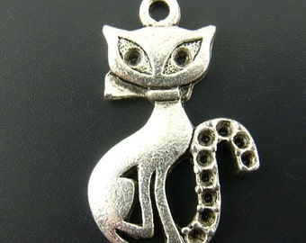 10 Pieces Antique Silver Cat Charms