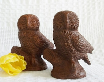 Owl figurines, set 2, pair wood owl figurine, Red Mill Mfg handcrafted in USA made from ground pecan nut shells & resin woodland owl statue