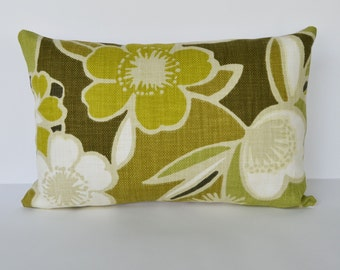Decorative Pillow 12x18'' Green and Yellow Floral Accent Pillow Throw Pillow Cushion cover
