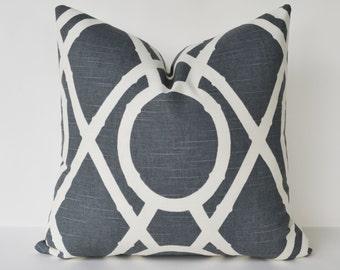 Decorative Pillow Bamboo lattice throw pillow creme and gray pillow cover 16x16''
