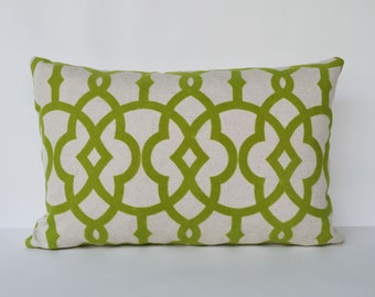 Decorative Pillow 12x18''  green lattice pillow  flock printed Throw Pillow accent pillow sofa pillow toss pillow