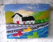 wet felted picture, fiber wall art, textile art