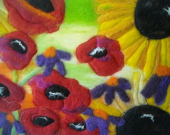 felted picture, sunflowers and poppies, wet felted art