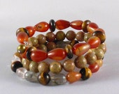Autumn Jasper Red Agate Memory Wire Bracelet