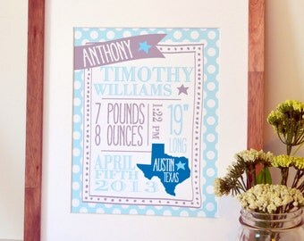 Baby announcement 8x10 Baby boy stat art Birth stat print New baby gift New baby boy present Gift for new Mom Personalized baby gift
