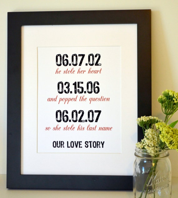 Wedding sign 11x14 print Reception decoration He stole her heart Important date art Anniversary gift for husband Wedding gift