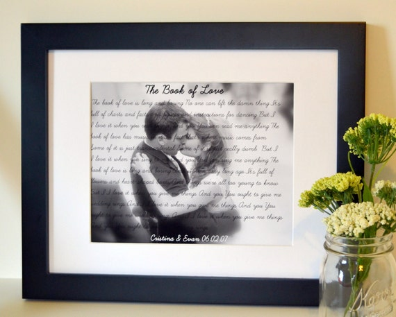Wedding song lyrics gift 8x10 Anniversary gift for husband First dance with photo Father's day gift Mother's day present Personalized gift