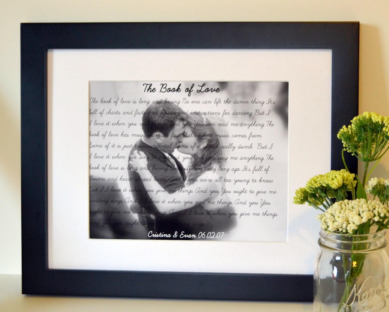 Wedding Gifts For Your Husband: Wedding Song Lyrics Gift 8x10 Anniversary Gift For Husband