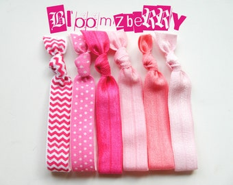 6 pcs Elastic Hair Ties or Headbands - Pink Set - Chevron, Polka Dots, Hot Pink, Candy Pink, Bubble Gum and Baby Pink - Toddler to Adult