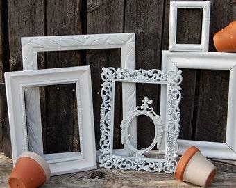 PICTURE FRAME SET, Farmhouse Distressed Frame, Gallery Wall, Nursery, White Frame Set