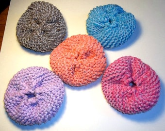 Tawashi Dish Scrubbie Cotton Knit with Tulle Many Colors Available - Round Little Textured  Pot and Dish Cleaner