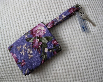 quilted fabric wallet/gift card holder/credit card organizer/business card case in purple floral on purple