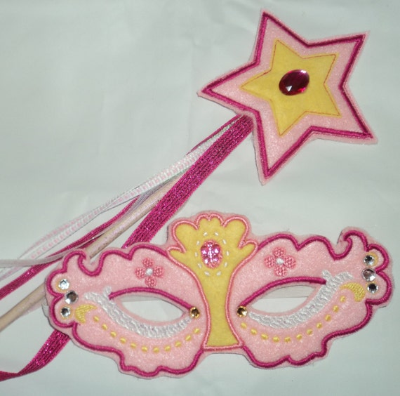 Magic Star Felt Princess Wand With Matching Princess Mask- Pink and Yellow