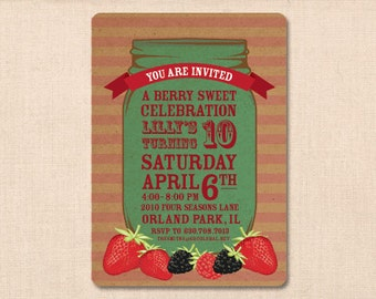 berry sweet MASON JAR personalized invitation